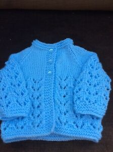 Brand New Hand Knitted Pale Blue Matinee Jacket 0-3 Months