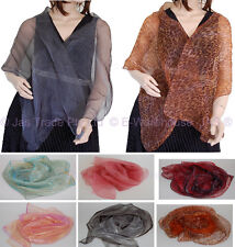 1 Oblong Evening Wedding Shawl Scarf Wrap Two Toned Layer SHEER See-through