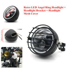 "5.75""LED Motorcycle Modified Headlight Turn Signal Lamp with Bracket+Mesh Cover"