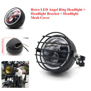 """5.75""""LED Motorcycle Modified Headlight Turn Signal Lamp with Bracket+Mesh Cover"""