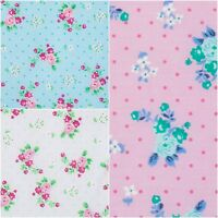 Country Rose Floral Polycotton Fabric Turquoise, white, pink Craft Material