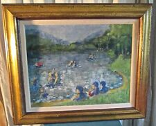Framed Impressionist Oil Of Swimmers in a Lake by Daniela Rosenhouse