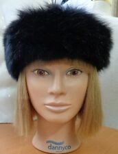 "EXCELLENT BLACK OPOSSUM FUR HEADBAND HEAD WRAP WOMEN WOMAN 22"" X 2.5"""