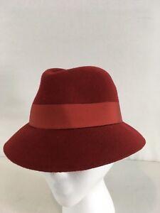 Vtg Frank Olive Branch Doeskin Wool Felt Womans 6 3/4 S Red Fedora Hat
