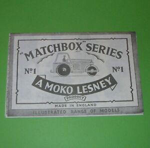 Matchbox / 1957 Fold Out Product Sheet / Black & White Copy