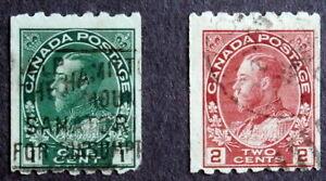 CANADA - King George V :1913, Used Coils Perf 8 Horizontal, Scott #123-124