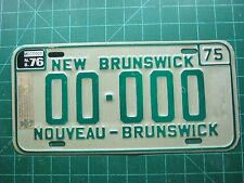 1975 Plate w 76 sticker New Brunswick Canada Sample License Plates   new old