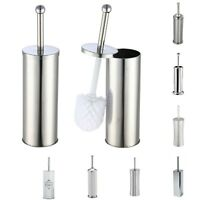 Toilet Brush & Holder Stainless Steel Ceramic Bathroom Accessory Cleaning Set