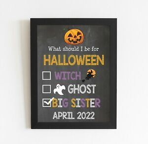Halloween Pregnancy Big Sister Baby Announcement Chalkboard Style Poster Gift