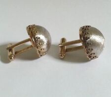 VINTAGE MADE ITALY FOR SHIELDS MEN COLLECTIBLE CUFFLINKS GOLD TONE ELEGANT DOME