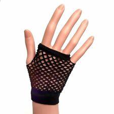 Black Fingerless Fishnet Gloves - 80s Party Fancy Dress Hen - Goth Punk Rock