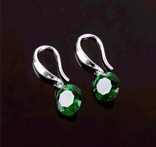 Sparkling Green Crystal Round Shaped Earrings on Silver Dangle Ear Hooks