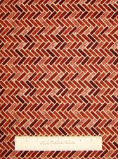 NATURALS Rusty Red Brick Fabric Stripe - Quilting Treasures QT Cotton YARDS