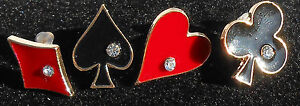 Casino Style Gold plated Heart Diamond Club and Spade Deck of Card Fashion Studs