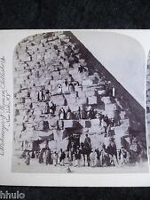 STA013 Egypte Pyramide Ascension Cheops 1894 STEREO vintage Photographie animé