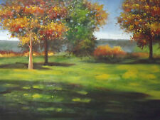British countryside forest green trees large oil painting canvas original modern