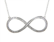 STERLING SILVER CUBIC ZIRCONIA BIG INFINITY SYMBOL NECKLACE