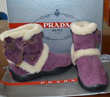 Nib Prada Childrens Kids Girls Suede Brown Shearling Boots Shoes Us 11.5 Eu 28