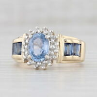 2.48ctw Blue Sapphire Diamond Halo Ring 14k Yellow Gold Size 7.5 Cocktail