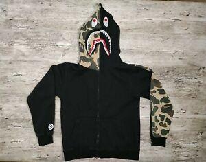 Bape Shark Hoodie Green Black Camouflage Full Zip  A Bathing Ape Size M