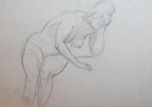Vintage nude woman pencil drawing portrait
