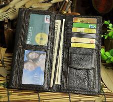 Men Genuine Leather Long 20+ Card Licence Case Holder Wallet Organizer Purse