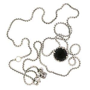 David Yurman Sterling Silver Chatelaine 8mm Black Onyx Pendant Chain Necklace