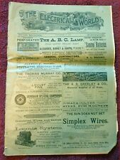 1891 THE ELECTRICAL WORLD ILLUSTRATED WEEKLY & REVIEW MAGAZINE