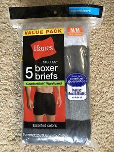 "HANES Men's M 32-34"" Boxer Briefs 5 Tagless ComfortSoft® Waistband FREE Shpg NIP"