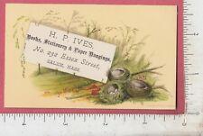 A320 H. P. Ives paper hangings book seller trade card Salem, MA bird nest Prang