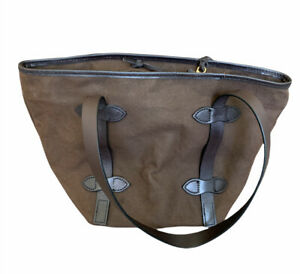 FILSON Rugged Bucket Twill Tote Leather Trimmed Bag in Brown