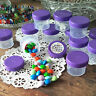 24 Plastic empty Jars Container Spice Shreds PURPLE CAPS Herbs 4304 1oz DecoJars