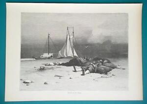 RUSSIA Burlaks Boat Haulers on Volga River Bank - 1880s Wood Engraving Print