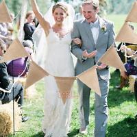 2.8m 13 Flags Vintage Jute Hessian Burlap Banner Rustic Wedding Bunting Decor