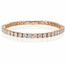Rose Gold Flashed Sterling Silver Cubic Zirconia 4mm Round-cut Tennis Bracelet