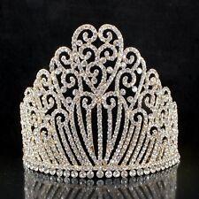 "5.25""h Austrian Crystal Rhinestone Tiara With Hair Combs Crown Gold-pla T11990g"