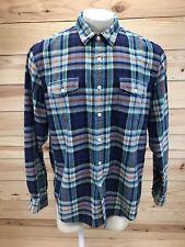 J Crew Shirt XL Multi-Color Blue Herringbone Plaid Button Down Long Sleeve B83