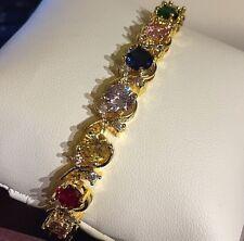 "18ct gold 7"" bracelet multi colour sapphire Swarovski Elements CRUISE gift boxed"