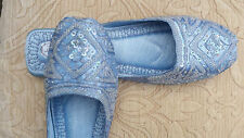 BLUE LADIES INDIAN LEATHER BACKLESS/SLIPPER/WEDDING MULES SIZE 3