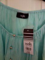 Wallis Ladies Blue / Turquoise 3/4 Sleeve Top - XL £26