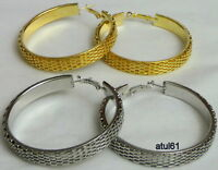 BIG 5.5 CM MESH THICK HOOPS URBAN WEAVE EARRINGS GOLD/SILVER JEWELLERY LARGE NEW