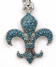 ED27 Fleur di Lis Silver Teal Turquoise Green Blue Crystal Pendant Necklace