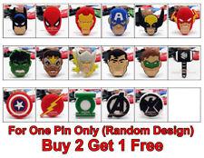 BUY 2 GET 1 FREE Superhero Logo PVC Kids Badge Pin Brooch Party Loot Bag Fillers