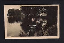 Waucoma Iowa IA c1910 RPPC Old Mill Pond,, Park Gazebo, Barn & Homes by River