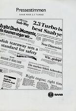 Prospekt Saab 9000 2.3 Turbo Pressestimmen 1991 Autoprospekt Auto PKW brochure