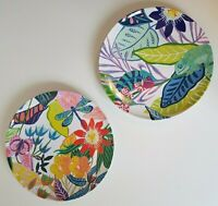 Anthropologie Tropical Melamine Dinner Plates Dragonfly Butterfly SET LOT 2 NEW