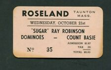 1953 Count Basie Dominoes Sugar Ray Robinson Concert Ticket Roseland Ma Boxing