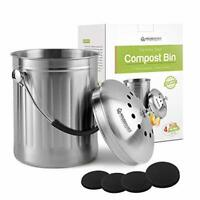 Housewares Solutions Leak Proof Stainless Steel Compost Bin 1.3 Gallon 4 Filters