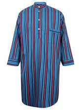 Men's Premium Cotton Nightshirt by Somax - Turquoise Blue Stripes (sizes avail.)