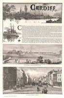 Cardiff.1886.Genuine.Antique print.Wales.St.Mary's Street.Historical.Shipping